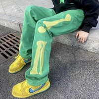 Men's Jeans Unisex Restoring Ancient Ways Embroidered Skull Bone Straight Hiphop Oversized Clothes Harajuku Streetwear Trousers