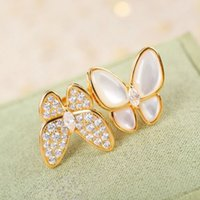Fashion Pearl Bracelet Earrings Necklace 4 Four Leaf Clover Butterfly Link Clavicle Chain Shell 18K Gold for Van Women&Girls Wedding Jewelry