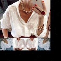 Mode Frauen Hemden Tops und Blusen Elegante Langarm White ol Shirt Damen Tupfen Tupfen Streetwear Stilvolle Persönlichkeit