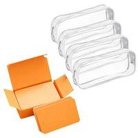 Pencil Bags 100X Memory Cards Blank DIY Graffiti Word Cards(Orange) & 4 Pieces Clear PVC Zipper Pen Case(White)