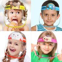 DHL Ship Children Cartoon Face Shield Anti-fog Isolation Mask Full Protective Mask Transparent PET Protection Splash Droplets Head Cover