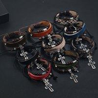 Corda multistrato fatta a mano in pelle intrecciata in pelle in legno perline croce braccialetti di fascino braccialetti gioielli di moda per le donne uomini