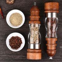 مجموعة طاحونة الملح والفلفل الخشبية - الخشب والأكريليك المطاحن، قابل للتعديل المخزن السيراميك طاحونة الجملة DHF8904