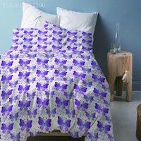 Bedding Sets Purple Butterfly Printed 2 3pcs Girl Boy Kid Bed Cover Set Fantasy Dreamy Duvet Adult Child Comforter