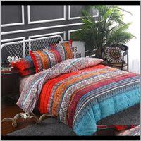 Estilo étnico Bohemio 3D Edredón de cama Conjuntos de ropa de cama Mandala Duvet Funda Conjunto de la sábana de invierno Funda de almohada Reina King Size Bedline Betspread 9oomt