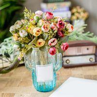 Ramo 15 Buds Artificial Floral Té Rosa Flores Seda Táctil Real Floya Flor Flor Plantas Decoración de Boda Hogar Jardín Decorativo Tree