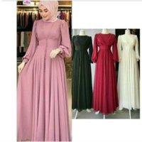 Musulmán Hijab Vestido 2021 Mujeres Botón Sólido Chiffon Eid Mubarak Party Tarde Largo Vestido Arabe Turco Ropa Islámica