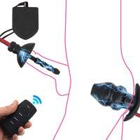 Hollow Anal Plug Elektro Penis Fiş BDSM Oyuncaklar Anal Spekulum Dilatör Prostat Şok Seks Oyunları Electhocock Büyük Buttplug Vibratorp0804