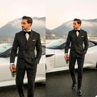 Men's Suits & Blazers Handsome Black Suit Groom Wedding Tuxedos Slim Fit Double Breasted Prom Party Business Outfit 2 Pieces (Jacket+Pants)