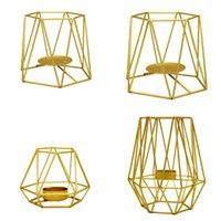 Titulares de vela titular dourado europeu forma geométrica candlestick chá luz oca de metal artesanato mesa de jantar casamento decoração
