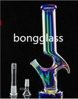 12,6 дюймов красочные стеклянные бонг дымовые водопроводные трубы вниз стеклянный стеклянный барбер барботер Установки с 14 мм чаша