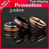 Wedding Rings 6 8mm Tungsten Carbide For Men Women Bands Nature Koa Wood Arrow Inlay Free Comfort Fit