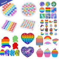 Tiktok Dhl Rainbow Push Pop It Fidget Toy Sensory Push Bubble Fidget Sensory Autism Especial Necessidades de Ansiedade Relisor para Trabalhadores de Escritórios Presente Fluorescen