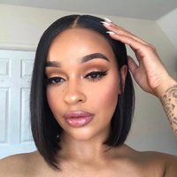 Pre Plucked Natural Hairline 4X4 Bob Cut Lace Front Closure Wigs For Black Women Silky Straight Brazilian Virgin Short Human Hair Wig With Babyhair Bleached Knots