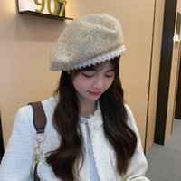Beanies 2021 Winter Fashion Women's Wool Knitted Beret Girl's With Pearl Vintage Hat Autumn Cap Adjustable