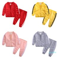 Toddler Tracksuits Casual Kids Sports Coat Pants 2pcs Sets Long Sleeve Boys Activewear Solid Girls Outfits Boutique Baby Clothing DHW3617