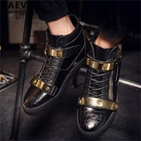 Boots Eur39 46 Punk Style Show Stage Black Grandchildren Booties Gold Metal Men Leather Flats Winter Hip Hop Dancing Shoes Masculinos 0724