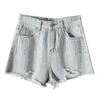 Women's Jeans Lguc.H Bling Shorts For Women 2021 Washed Ripped Jean Denim Streetwear Short Femme Korean Style
