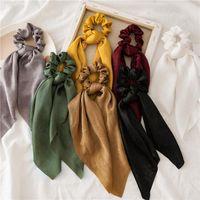 Hair Accessories Women Chiffon Long Ribbon Scrunchies Elastic Bands Rope Ring Ponytail Holder Sweet Girls Fashion