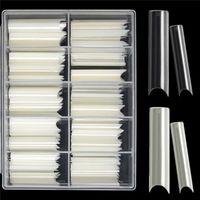 200 adet / kutu C Kavisli Düz Sahte Çivi Manikür Natrali / Temizle Sanat Yapay İpuçları Akrilik Araçlar Salon Tedarik False