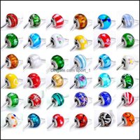 JewelryMix نمط 200 قطعة / الوحدة مزيج اللون diy حفرة كبيرة beautif الأوروبية فضفاض الزجاج الخرز fiit لسحر أساور b04 قطرة التسليم 2021