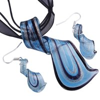 Streamer Glitter Murano Lampworks Blown Venetian Verre Colliers Pendentifs et boucles d'oreilles Bijoux Ensembles de bijoux à la main Mode Bijoux Mus023 OK 20 W2
