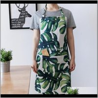 Tessili Casa GardenNordic Style Piante tropicali Stampa Stampa Impermeabile Breve Grembiule Adulto con grande tasca da cucina Cucina Cucina grembiuli Drop D