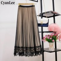 Cyanlee coréen en dentelle réversible velours tulle longue jupe long femme 2021 automne gradient hiver taille haute maxi maxi plissée