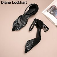 Dress Shoes Top Quality Women With Bow High Heels Classic Flock Pointed Sandals Ladies Party Strappy Pumps Summer Female Mujer
