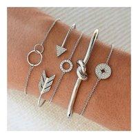 Cuff 5 Pcs set Silver Crystal Arrow Circle Charm Bracelets Set For Women Bohemian Vintage Bracelet Female Fashion Jewelry Gifts