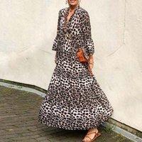 Casual Dresses Boho Dress 2021 Spring Summer Leopard Print Retro Long Party Women Sexy V Neck 3 4 Flare Sleeve Loose Maxi Vestido
