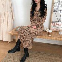 Casual Dresses Alien Kitty Korean Floral Loose Chiffon Versatile Slim 2021 High Waist Chic All Match Stylish Women's