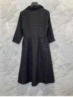 French Style Three-Quarter Sleeve Jacquard Waist Dress Womens Autumn European and American New Retro Mid-Length Dress 9C