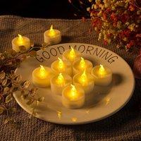 전자 촛불 12pcs / 세트 깜박이 노란색 빛 호박 장식 LED 라운드 할로윈 제안 생일 파티 호텔 밤 어린이 선물 장식 조명 A15