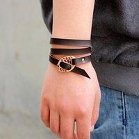 Мультислойная кожаный браслет ручной работы Подвески VEVlet Braclet для мужчин Женщины Регулируемая обертываясь Ювелирные изделия Homme Charm Bracelets 1834 Q2
