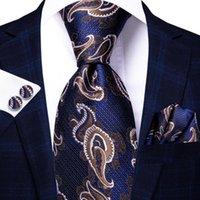 Bow Ties Hi-Tie Navy Blue Brown Paisley Silk Wedding Tie For Men Handky Cufflink Fashion Designer Gift Necktie Business Party