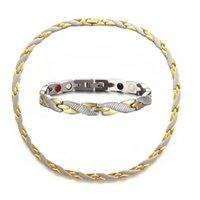 Vente en gros en acier inoxydable germanium bracelet bracelet collier bijoux ensemble aimant sain Serpentine