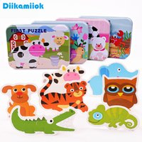New Style Kids Card Paper Puzzle Toy Animal Fruits Vehicle Jigsaw Puzzles Baby Early Educational Learning Toys for Children Gift A0511