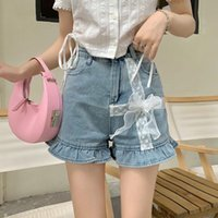 Women's Shorts High Waisted Jean Womens Korean Fashion Kawaii Clothes Blue Denim Short Female 2021 Summer Trouser Party Lace Y2k