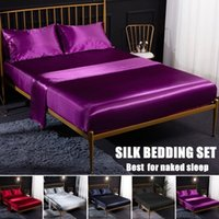 Luxury Pure Satin Silk Bedding Set Soft Reversible Hypoallergenic Bed Sheet Set 3 4 Pcs Flat Sheet Fitted Twin Full Queen King Size