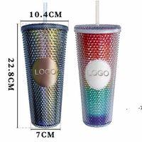 24 oz Starbucks personalizados I iridiscente Bling Rainbow Unicornio Tabla de la copa fría taza de café con straw fwe6100
