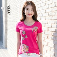 Fashion Designer Women's Sequins Slim t shirt Office Lady High Quality Cotton Casual Cartoon Pattern t shirt Tank Tops