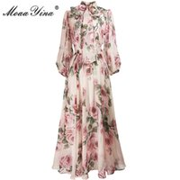 Moaayina primavera verano vestido de diseñador de moda vestido de mujer collar de arco rosa floral-estampado elegante vacaciones gasa vestidos de gasa 210329