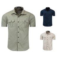 Camicia da uomo in cotone uniforme da uomo uniforme da esterno a maniche corte a maniche corte