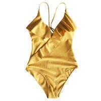 One-Piece Suits Women Plus Size Sexy Bikini Deep V-Neck Cross Wrap Front Ruffles Flounce Monokini Thread Stripes Solid Swimsuit