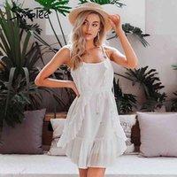 Simplee Sexy Sleeveless Sommerkleid Rüschen Boho Sash Strap Strand Kleid Casual Feiertag Damen Weiche Baumwolle Bodycon Mini Kleid 210413