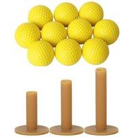 골프 훈련 에이즈 10pcs 노란색 소프트 탄성 실내 연습 PU 볼 3X 티 커피 내구성 티 구동 범위 60 / 70 / 80 mm