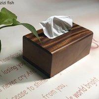 صناديق الأنسجة المناديل الجوز الخشب مطعم الحد الأدنى منديل حامل سيارة مربع حاملي منضدة سطح المكتب منشفة المنظم