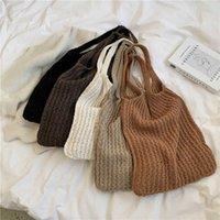 Neue Wolle Gestrickte Schulter Einkaufstasche Für Frauen 2021 Vintage Mode Baumwolltuch Mädchen Tote Shopper Tasche Große Weibliche Handtasche C0601