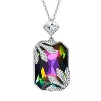 Moda classica tendenza misteriosa pietra chic colore misto collana multicolore signora crystal geometric pendente boutique gioielli collane
